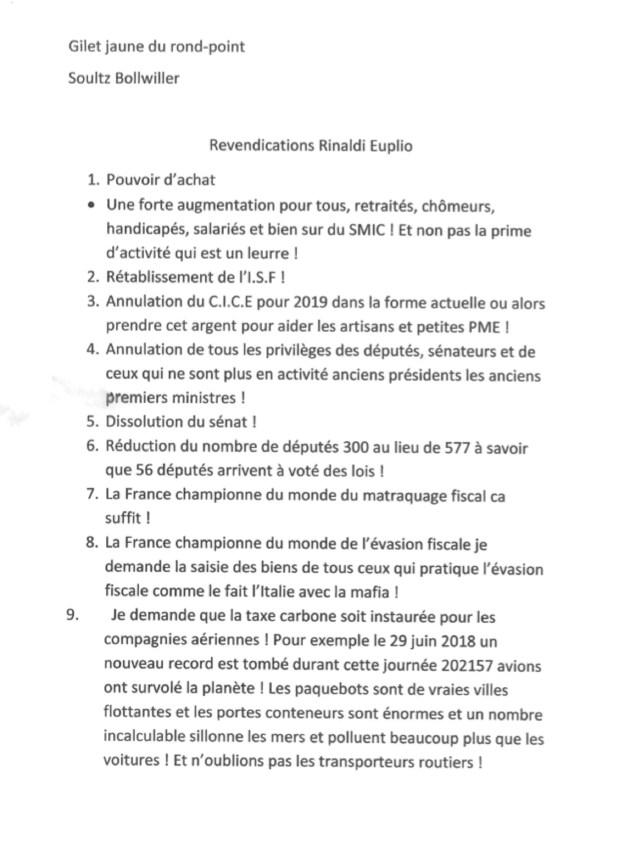 Une des doléances déposées par Elio Rinaldi à la mairie de Soulz.