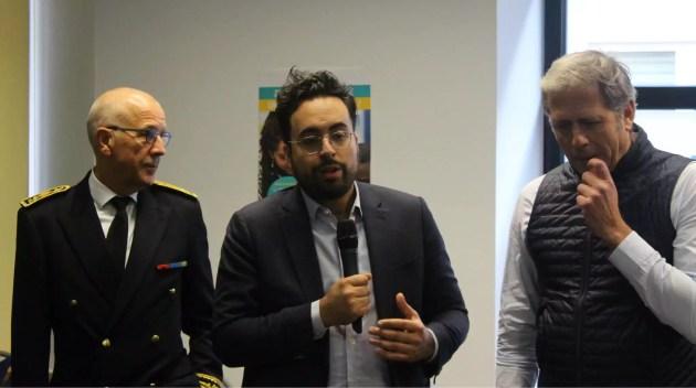Le secrétaire d'État au numérique, mais aussi candidat à la mairie de Paris, Mounir Mahjoubi est venu inaugurer l'antenne strasbourgeoise d'Emmaüs Connect. (photo JFG / Rue89 Strasbourg)