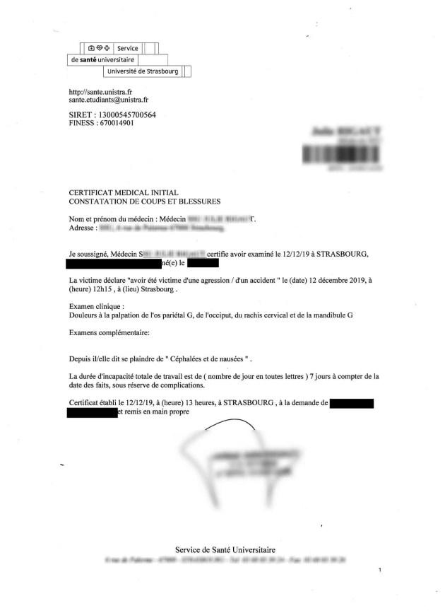 Certificat produit par le service de médecine de l'université (doc remis)