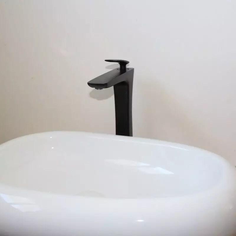 Robinet Mitigeur surlev pour Lavabo  Vasque  Noir Mat  Concept