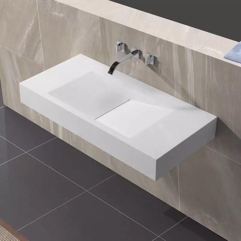 Lavabo Suspendu Rectangulaire Blanc Mat 100x48 Cm