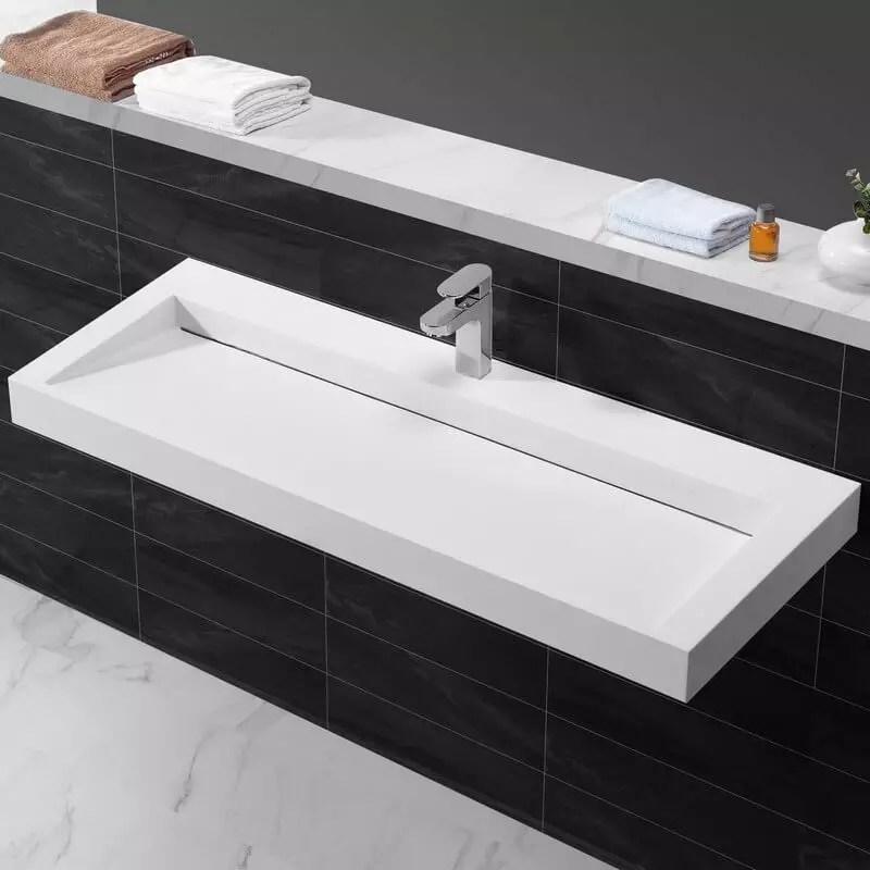 Lavabo suspendu blanc mat composite  120x45 cm  Urban  Rue du Bain