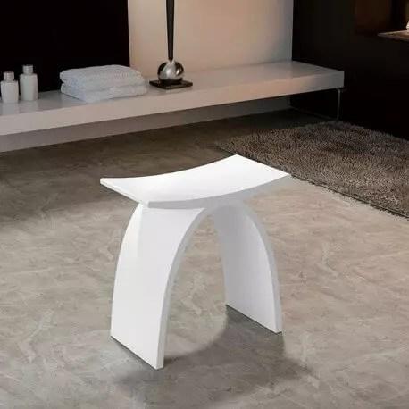 tabouret de salle de bain solid surface blanc mat 43x43 cm mineral
