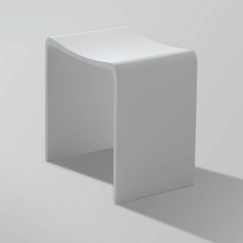 Tabouret sige de salle de bain 40x42cm composite blanc