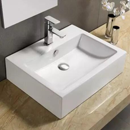 vasque a poser et ou suspendre rectangulaire ceramique 57x45 cm square