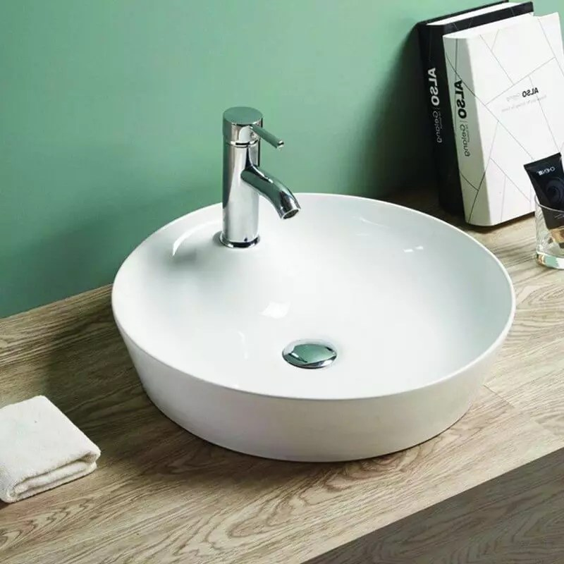 Vasque A Poser Ronde En Ceramique Blanche 44 Cm Lodge