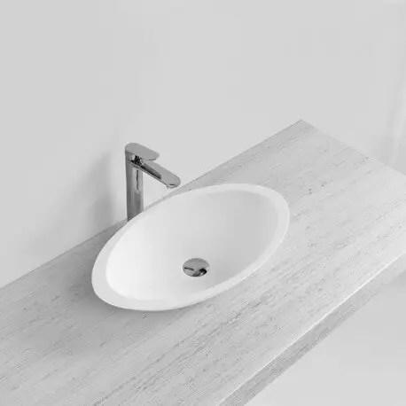 Vasque A Poser Ovale Blanc Mat 59 X 35 Cm Vasques Composite Soon