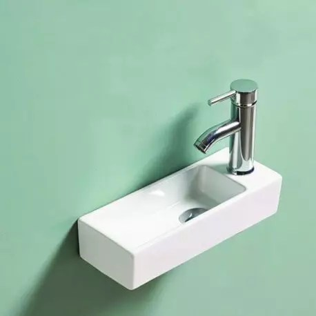 lave main rectangulaire gain de place droite ceramique blanc 38x15 cm minimalist