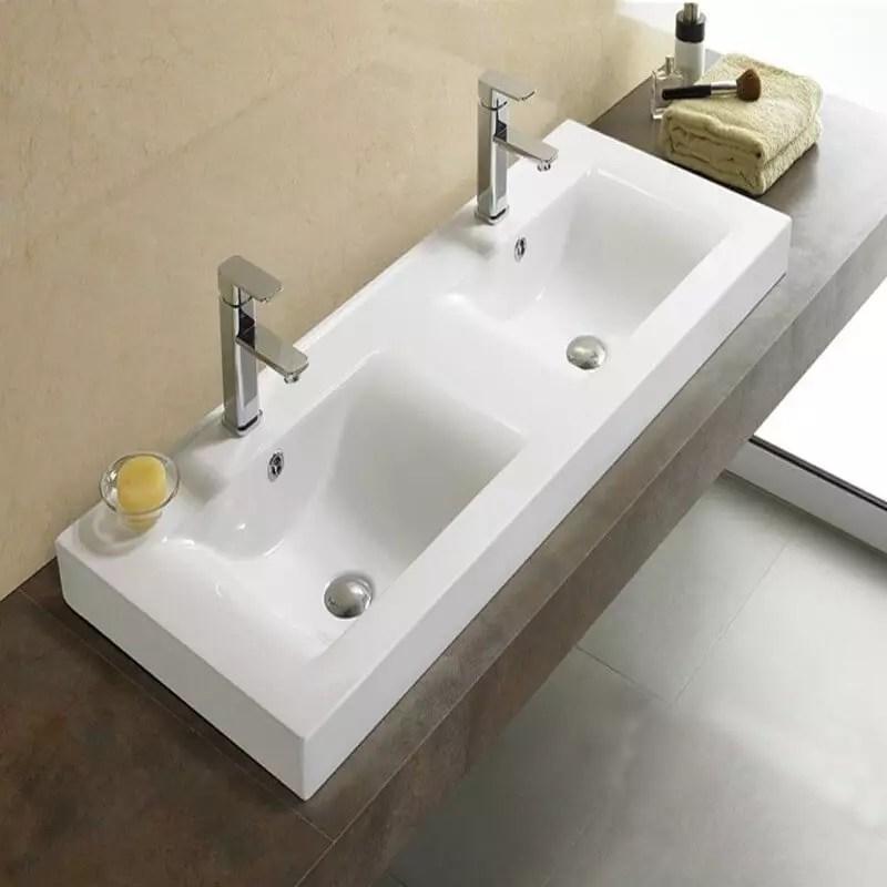 Lavabo  Poser Double vasque 120x46 cm Cramique Essentiel