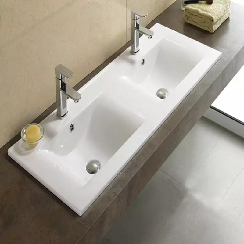 Lavabo Encastrable Double vasque 120x46 cm Cramique Space