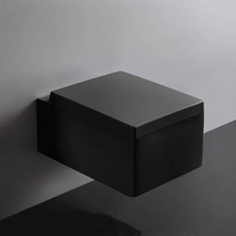 S Wc Suspendu Rectangulaire X Cm Noir Avec Abattant Kube L