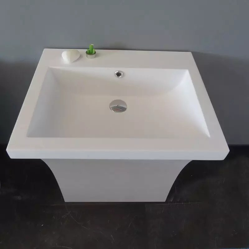 Lavabo Rectangle Composite Blanc Mat Slide Lavabo Totem