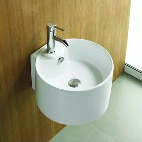 lavabo rond suspendu ceramique blanc 40x43 cm sigma