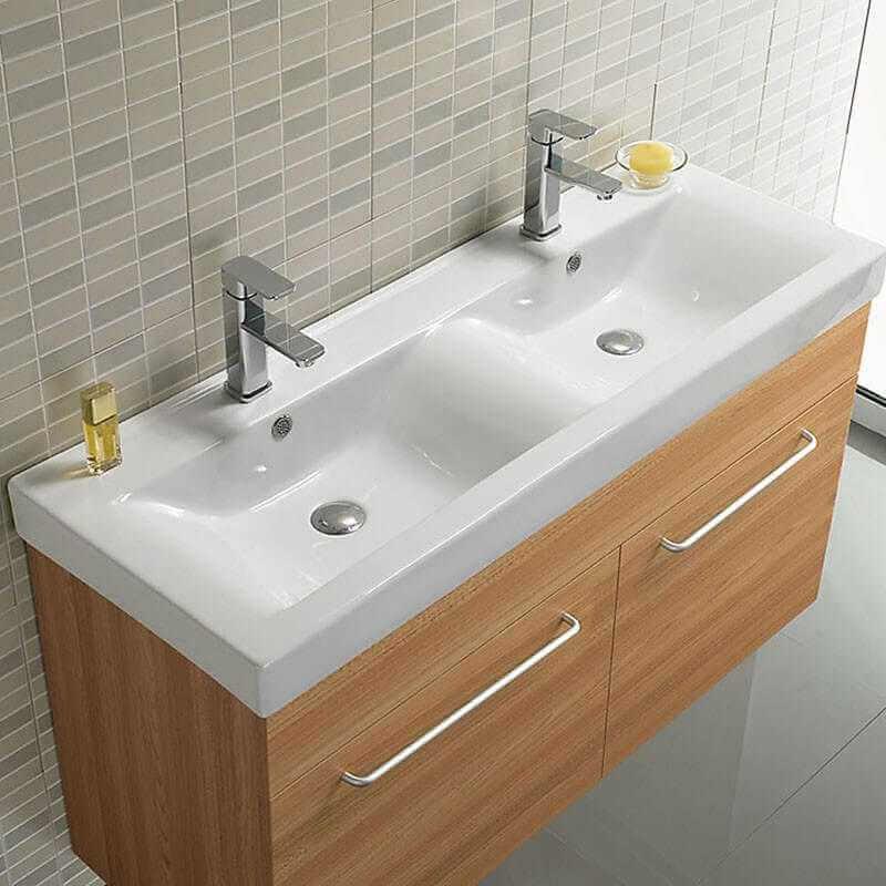 Lavabo Double vasque Essentiel Lavabo suspendu cramiqueRue du Bain