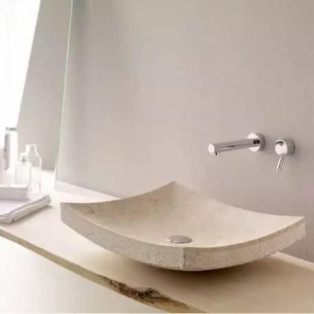 vasque a poser rectangulaire pierre beige 50x40 cm profil