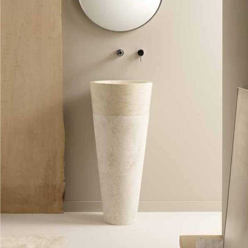 Lavabo totem rond en pierre beige Ultime  lavabo totem Rue du Bain