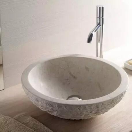 vasque a poser bol pierre beige strass vasques en pierre