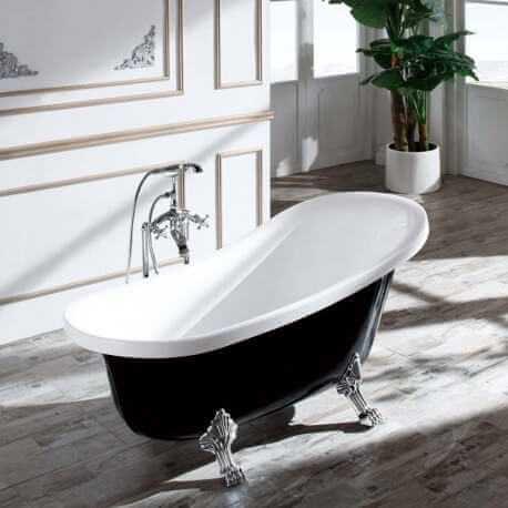 baignoire ilot ovale acrylique noir et blanc 160x76 cm vienne