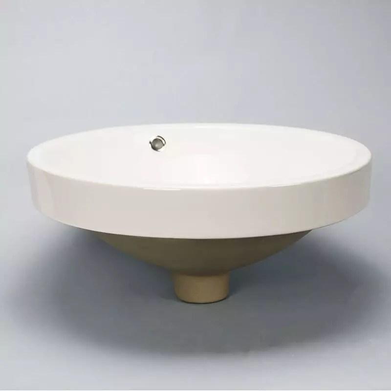 Vasque Semi Encastre Ronde En Cramique Blanche Modle Rani