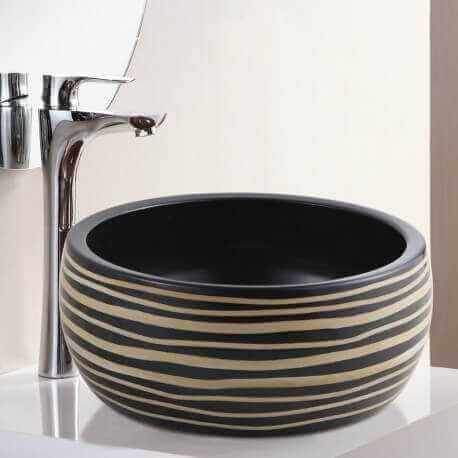 Vasque Poser Cramique Rainure Etnic Vasque Noire