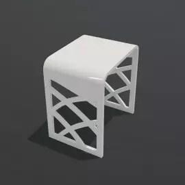 tabouret de salle de bain solid surface blanc mat 40x30 cm tendance