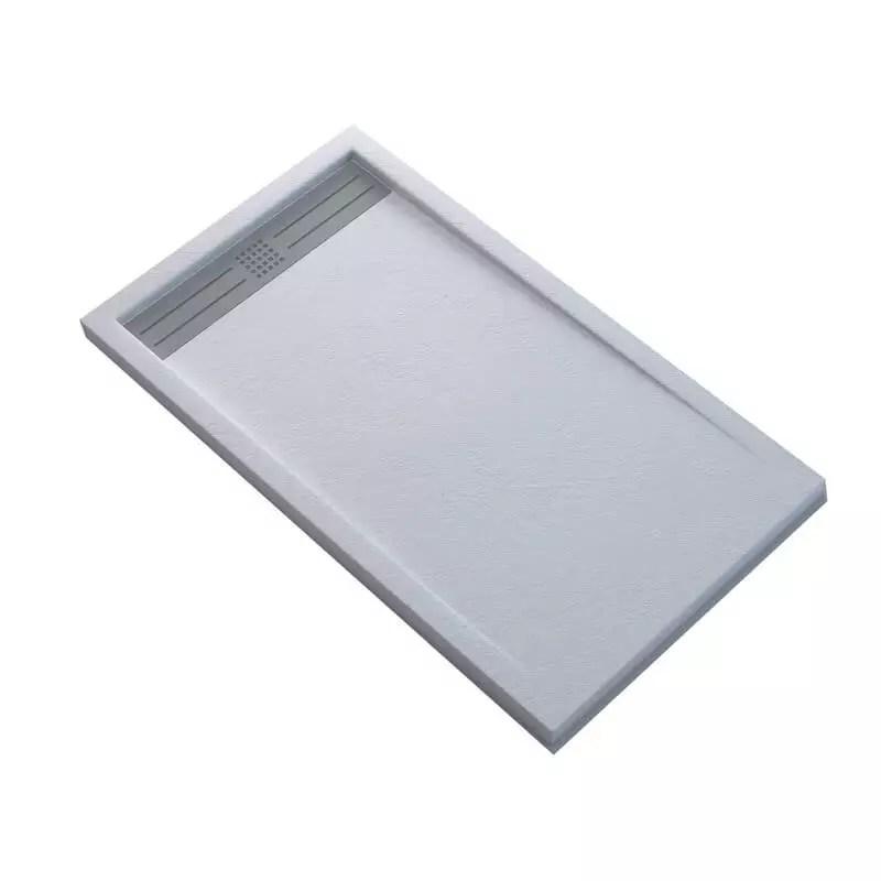 receveur de douche extra plat rectangulaire avec caniveau solid surface blanc slimline