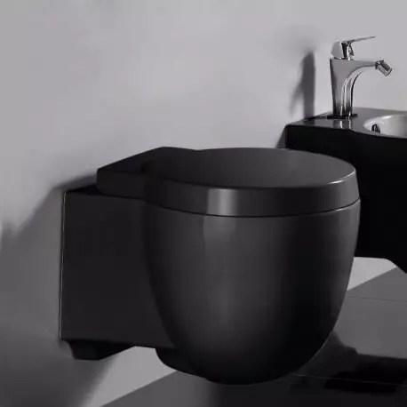 wc suspendu compact avec abattant ceramique noir brillant 50x41 cm charm