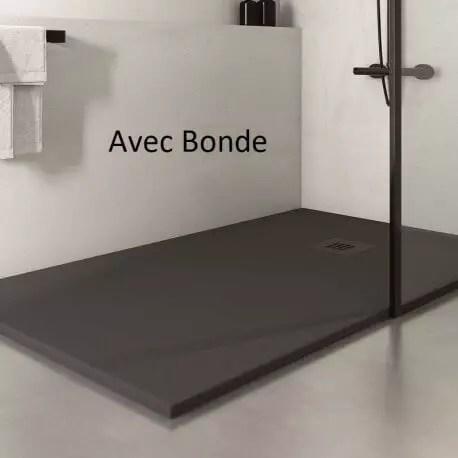 receveur de douche extra plat rectangulaire bonde carre solid surface anthracite mineral