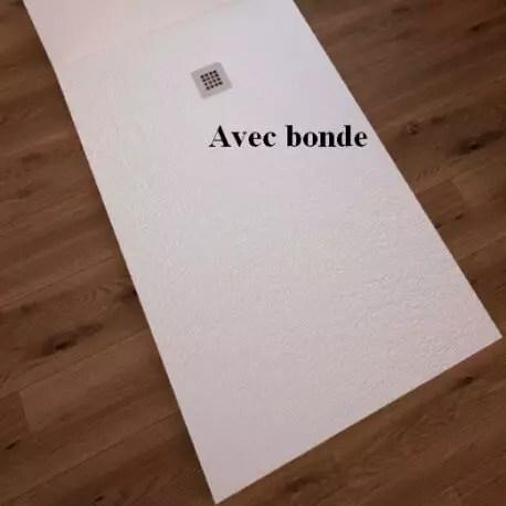 receveur de douche extra plat rectangulaire bonde carre solid surface blanc mineral