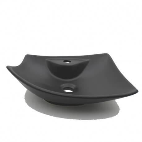 Vasque Ceramique Noire Mat A Poser Asymetrique Modele Feuille