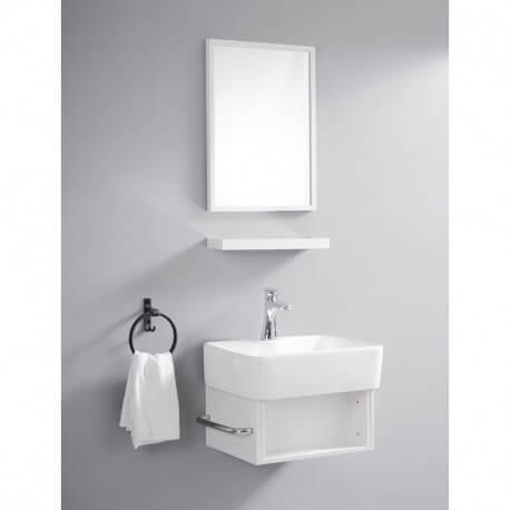 Meuble Suspendu Blanc Avec Simple Vasque Pour Petit Espace Evoc