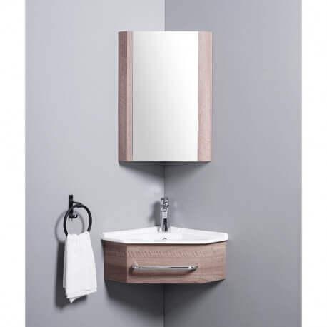 meuble de salle de bain d angle gain de place lave main bois 42x42 cm kara