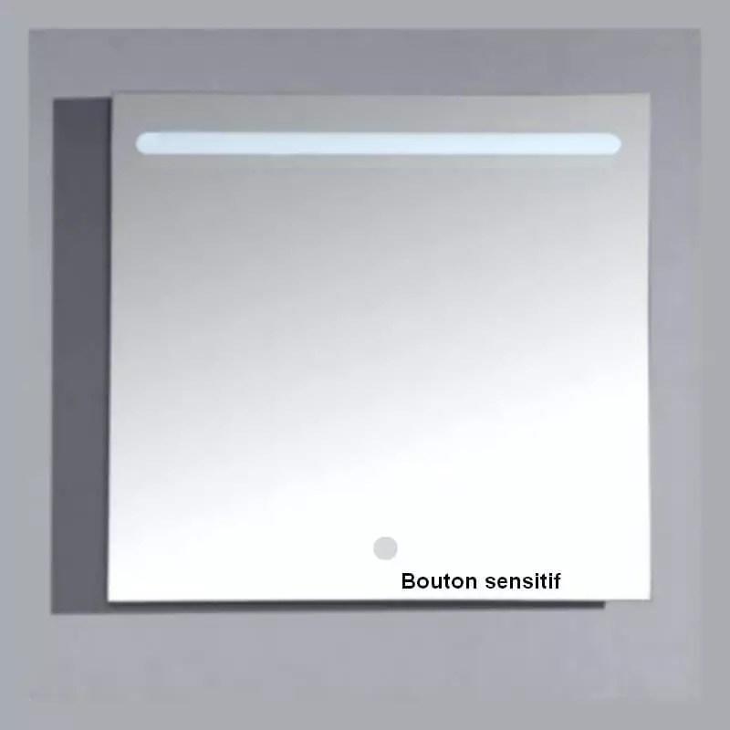 Miroir Carre Salle Bain Retro Eclaire Led Allumage Tactile Zen
