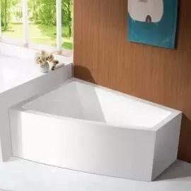baignoire d angle a gauche bain douche asymetrique acrylique blanc 160x120 cm kingston