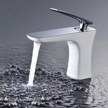 Robinet Mitigeur Design pour Lavabo et vasque ChromBlanc Concept
