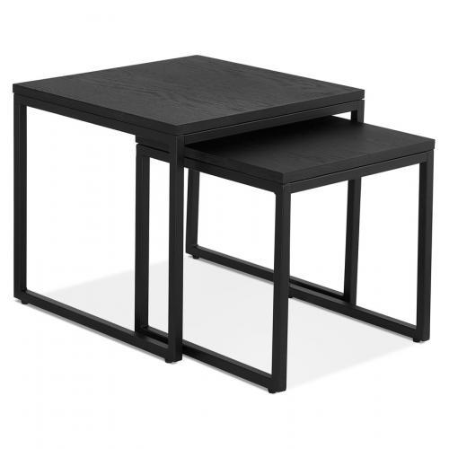set de 2 tables gigognes emboitables style industriel moma en bois et metal