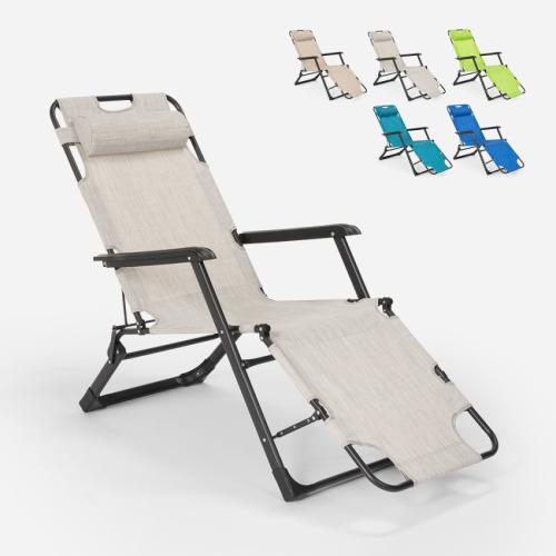 chaise longue de plage et de jardin pliante multi positions emily lux zero