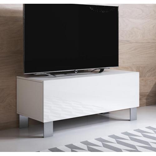 meuble tv modele luke h1 100x42cm couleur blanc avec pieds en aluminium