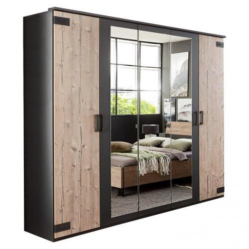 armoire vernon style industriel 225 cm 5 portes pin argente vieilli