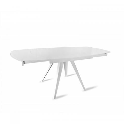 table en verre blanc extensible 120 a 180 cm ovale pieds acier adelphia