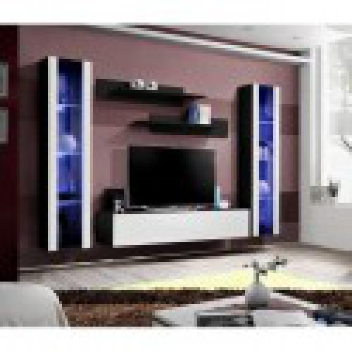 meuble tv fly a2 design coloris noir et blanc brillant led meuble suspendu