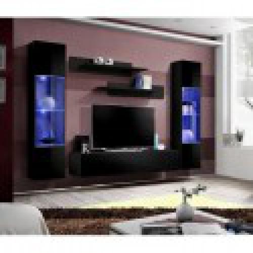 meuble tv fly a3 design coloris noir brillant led meuble suspendu moderne et