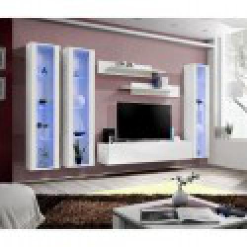 meuble tv fly c2 design coloris blanc brillant meuble suspendu moderne et