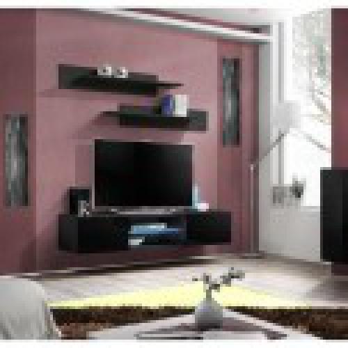 meuble tv fly design coloris noir brillant meuble suspendu moderne et tendance