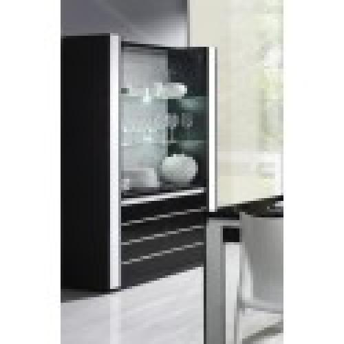 vitrine argentier vaisselier lina led coloris noir et blanc brillant meuble