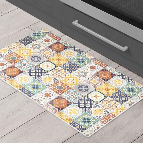 toodoo tapis motifs carreaux de ciment jaune 40x60
