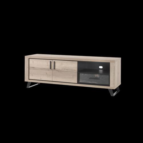 meuble tele 180 cm industriel couleur chene naturel kook