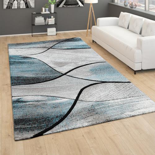 tapis de salon tapis vintage poils ras effet 3d motif geometrique vert beige