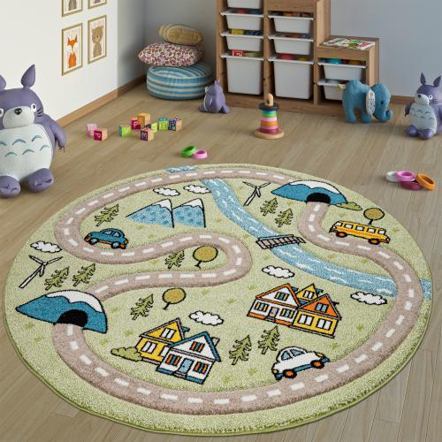tapis enfant chambre d enfant rond poils ras rues design en tons pastel vert