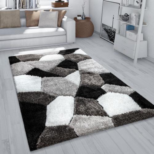 tapis shaggy tapis salon poil long effet 3d motif abstrait moelleux gris blanc